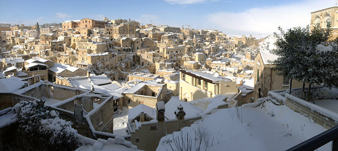 新年のマテーラは大雪ですw(゚o゚)w