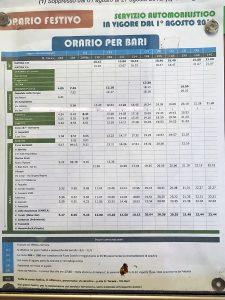 マテーラ-バーリ間の日曜祭日のバスの時刻表